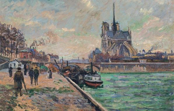 Картинка мост, город, река, картина, Paris, городской пейзаж, Арман Гийомен