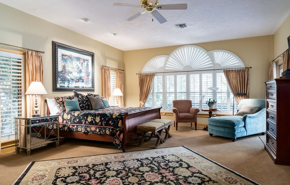 Картинка дизайн, ковер, окна, лампа, кровать, картина, кресло, подушки, спальня, комод