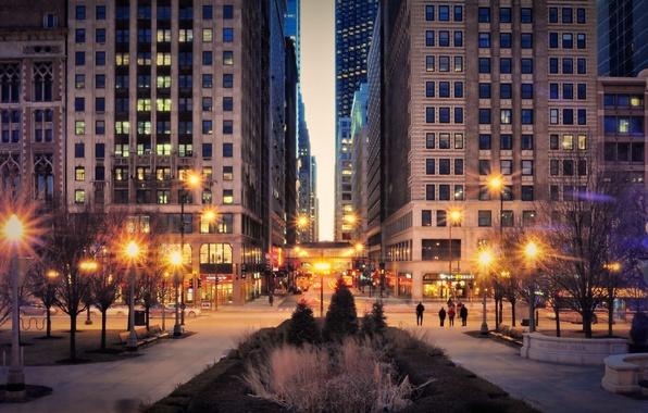 Картинка небо, огни, здания, небоскребы, вечер, фонари, USA, америка, чикаго, Chicago, сша, высотки, center, illinois, мафшины