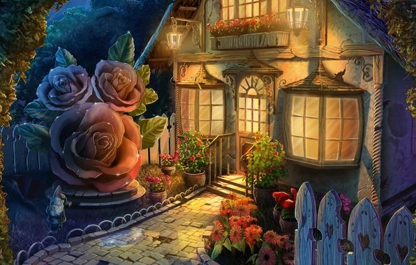 Картинка свет, цветы, окна, арт, домик, гномик