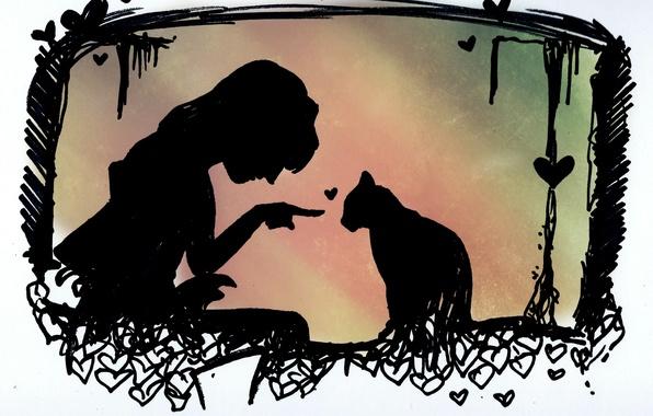 Картинка кот, девушка, животное, силуэты, сердечко