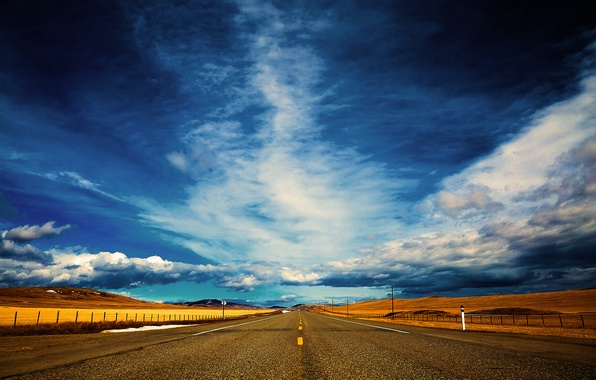 Фото обои дорога, небо, даль