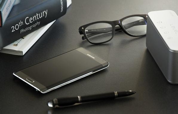 Картинка Android, Galaxy, Edge, Samsung, Glasses, 2015, Smartphone, Pen, Books