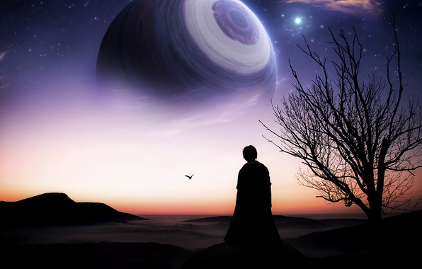 Картинка фантастика, дерево, планета, горизонт, арт, силует