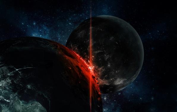 Картинка обломки, огонь, планеты, катастрофа, удар, столкновение, stars, impact