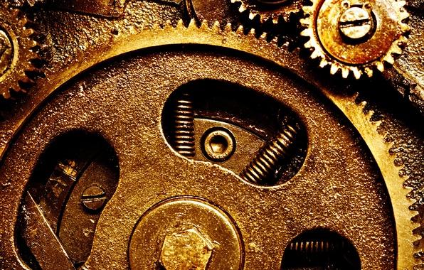 Фото обои gears, metal, clockwork, springs