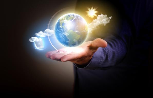 Фото обои земля, вселенная, планета, шар, рука, мужчина