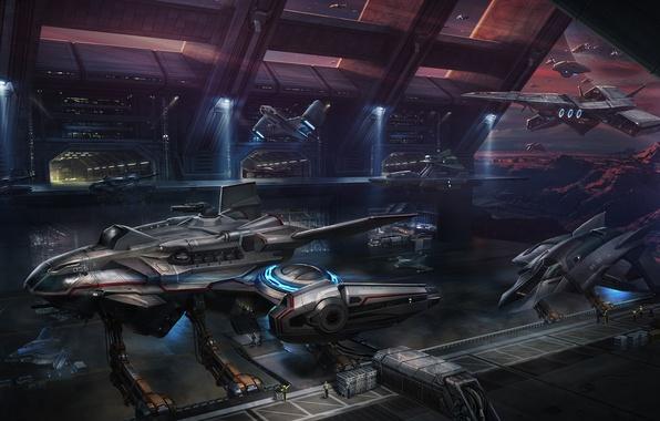 Картинка горы, фантастика, планета, порт, art, spaceship, космические корабли