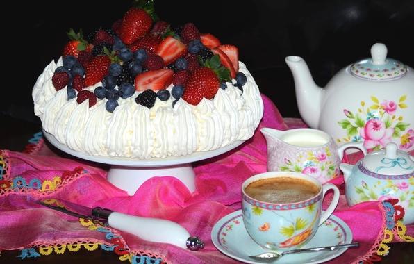 Картинка ягоды, малина, кофе, клубника, торт, посуда, десерт, голубика, безе, павлова