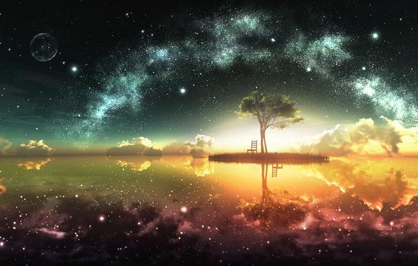 Картинка небо, солнце, звезды, облака, отражение, дерево, земля, луна, остров, горизонт, арт, стул, y-k