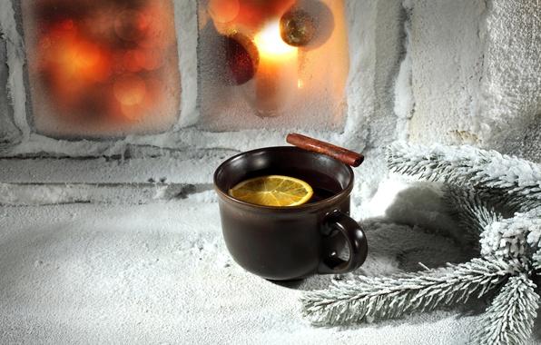 Картинка зима, чай, новый год, рождество, чашка