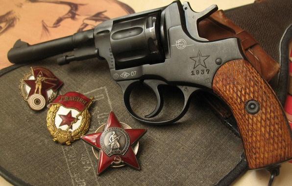 Картинка Орден Красной Звезды, Револьвер, Наган, Ворошиловский стрелок, гвардейский знак