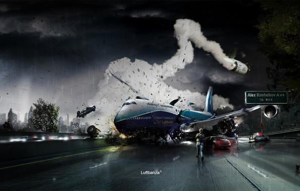 Картинка авария, самолет, люди