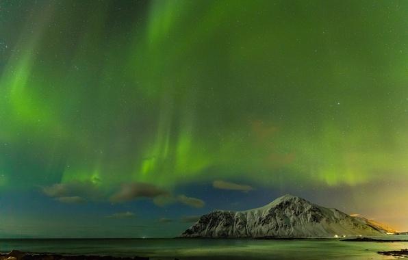 Картинка море, звезды, горы, ночь, северное сияние, Исландия