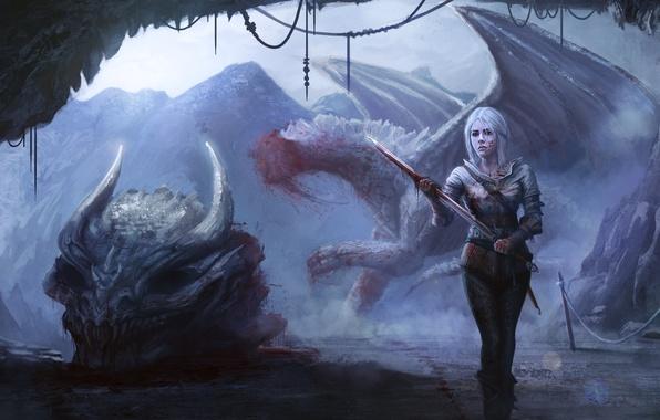 Фото обои дракон, Cirilla, девушка, Witcher 3: Wild Hunt, арт, череп