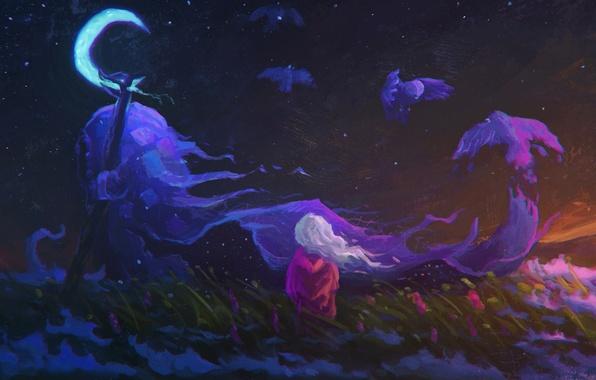 Картинка поле, небо, трава, цветы, ночь, птица, луна, сон, дух, арт, девочка, полумесяц