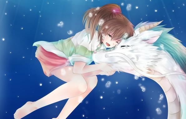 Картинка пузыри, дракон, аниме, арт, девочка, Хаяо Миядзаки, под водой, унесенные призраками, тихиро, хаку, дух реки, …