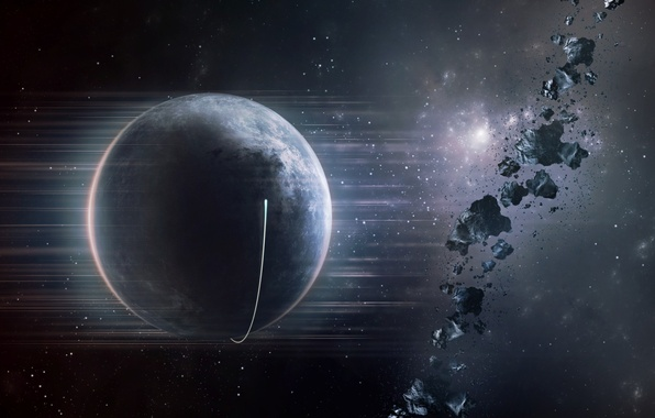Картинка звезды, планета, астероиды, spaceship
