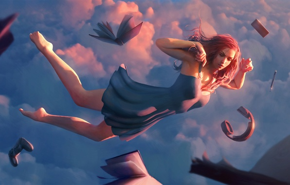 Картинка небо, девушка, облака, сон, наушники, платье, книга, art, геймпад