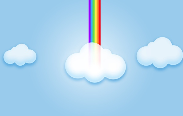 Картинка небо, облака, радуга, компьютерная графика
