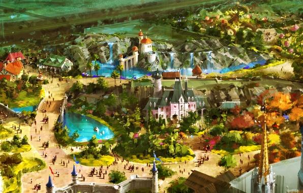 Картинка пейзаж, город, люди, замок, фантастика, праздник, рисунок, аттракционы, fantasy, карнавал, королевство, art