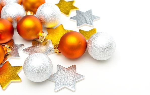 Картинка шарики, украшения, отражение, обои, игрушки, звезда, блеск, рождество