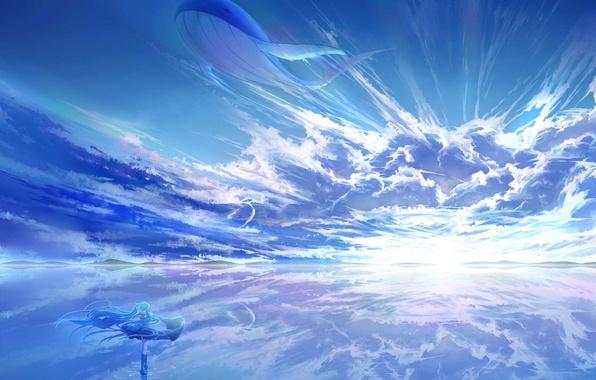 Картинка небо, вода, девушка, солнце, облака, пейзаж, закат, отражение, аниме, арт, кит, vocaloid, hatsune miku, arsh