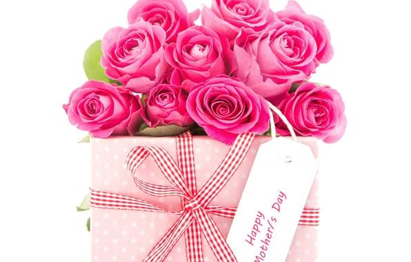 Картинка подарок, розы, бант, 8 марта, Roses, gift, Bouquets
