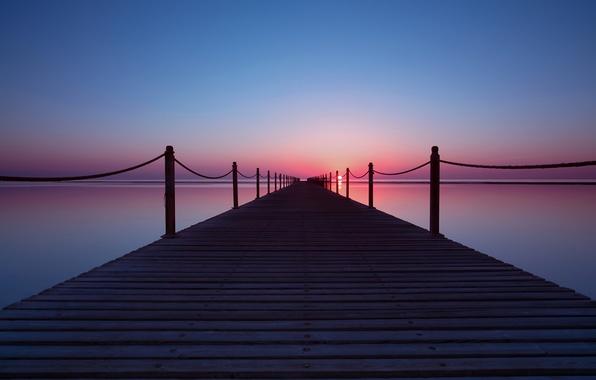 Картинка море, небо, солнце, закат, причал, пирс