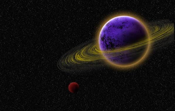 Картинка небо, звезды, цвет, планета, спутник, кольца