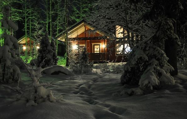 Картинка зима, снег, деревья, город, фото, дома