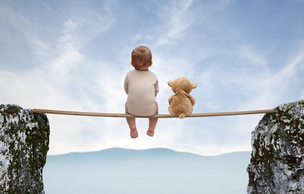 Картинка настроение, игрушка, медведь, доска, ребёнок