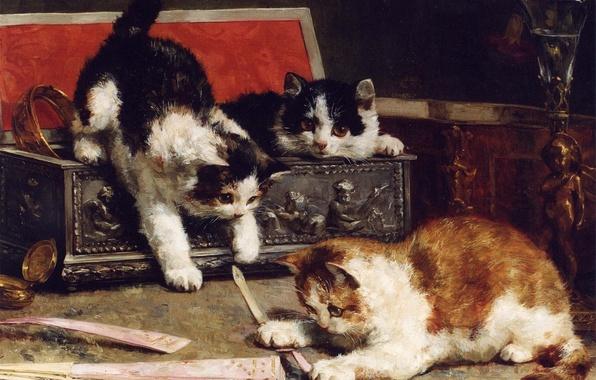 Картинка взгляд, краски, мило, картина, веер, рыжий, котята, шкатулка, ваза, трое, kitten, чернобелый, three, painting