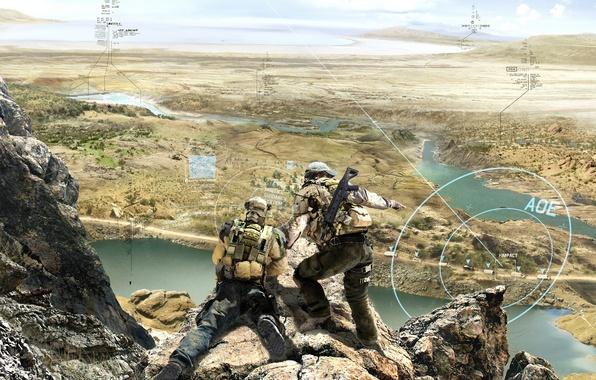 Картинка оружие, солдат, голограмма, тактика, отряд призрак, Ghost Recon: Future Soldier, Tom Clancy's
