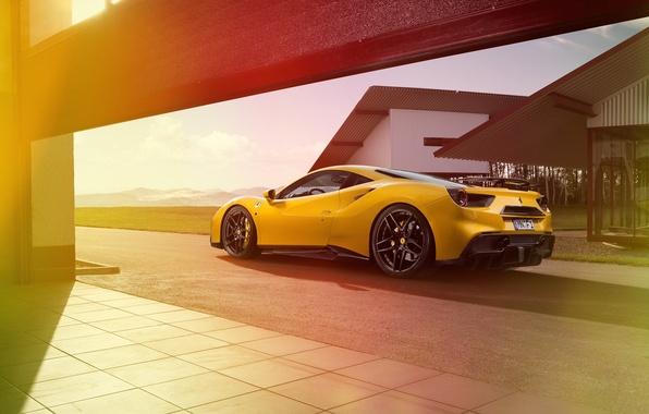 Картинка car, желтый, трасса, Ferrari, феррари, yellow, Rosso, Novitec, 488 GTB