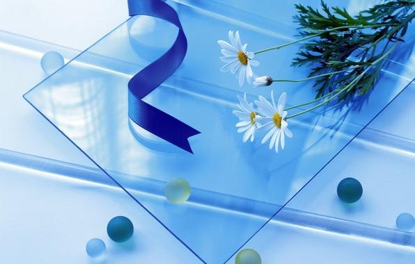 Фото обои цветы, стекло, ленты, голубой, простой, шары, круглый, квадратный, длинный, синий
