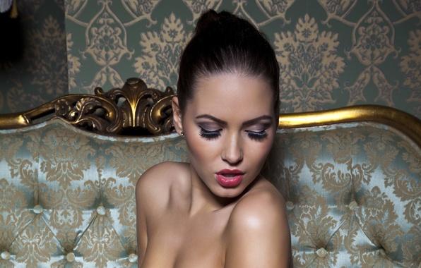Картинка глаза, девушка, ресницы, модель, брюнетка, губы, красивая, сексуальная, Сабина Емельянова, Sabine Jemeljanova