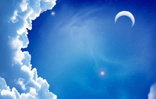 Картинка небо, облака, ночь, луна, звезда, минимализм, звёзды, месяц, облако