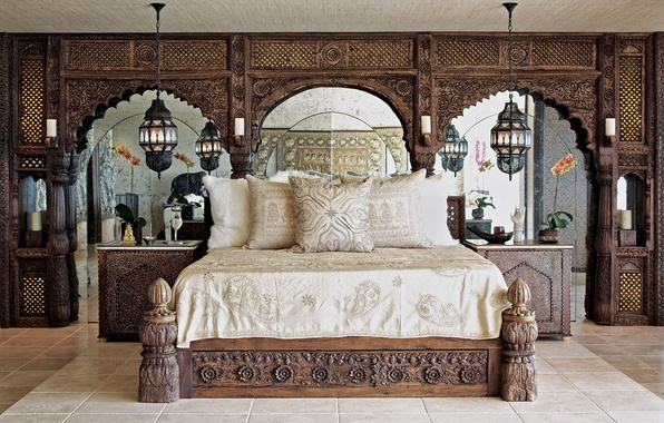 Картинка комната, кровать, подушки, зеркала, спальня, светильники, тумбочки