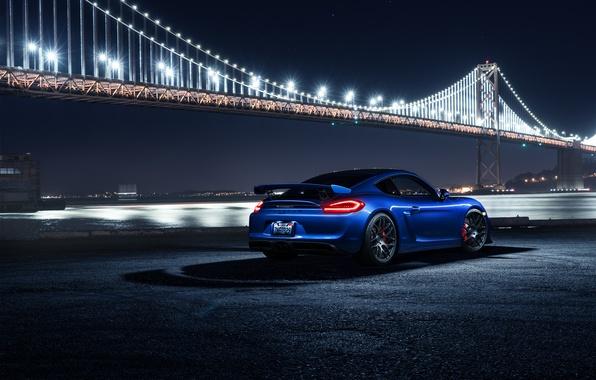 Картинка Porsche, Cayman, Car, Blue, Bridge, Night, Sport, GT4, Rear