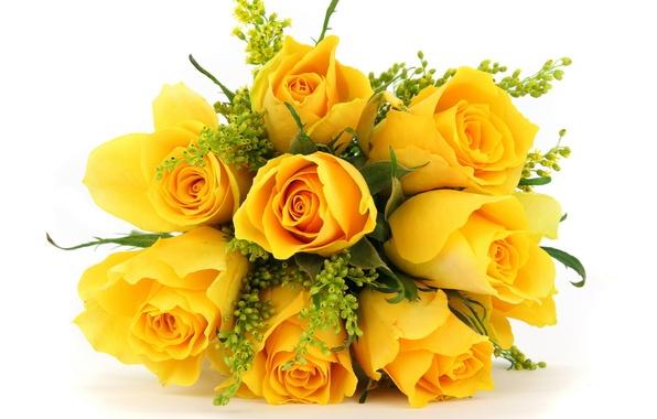 Картинка цветы, розы, букет, жёлтые