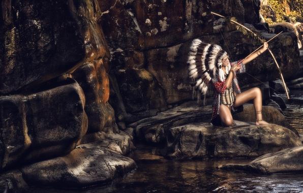 Картинка камни, перья, лук, скво, индианка, роуч