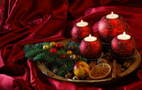Картинка огонь, пламя, праздник, елка, новый год, свечи, new year
