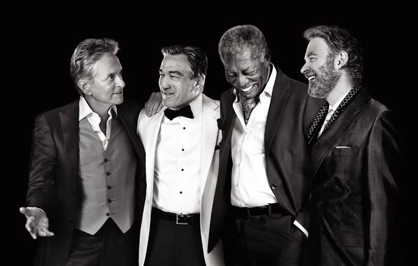 Картинка радость, знаменитости, смех, четверо, черно-белое, черный фон, актеры, постер, костюмы, Morgan Freeman, Морган Фриман, Robert …