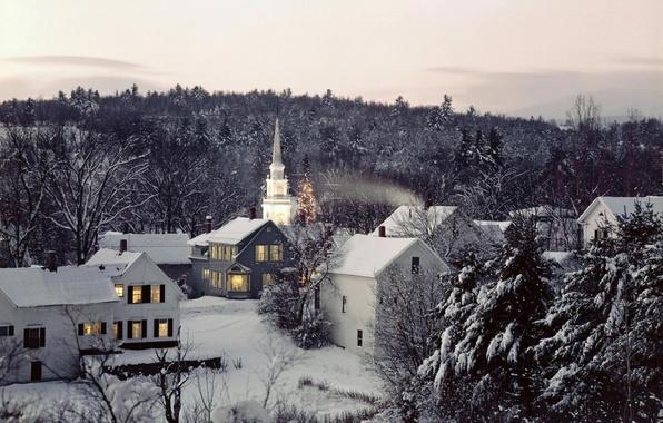 Картинка зима, снег, деревья, пейзаж, природа, фото, фон, обои, дома, вечер, мороз