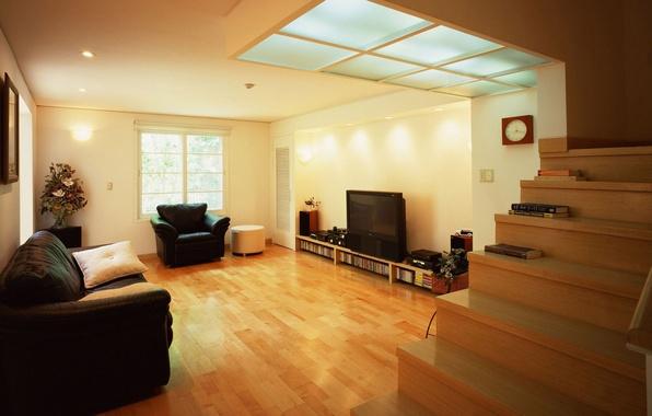 Картинка свет, диван, часы, книги, интерьер, букет, кресло, телевизор, окно, потолок, лестница, ступени, подушка, 2560х1600