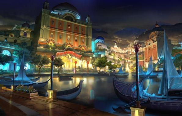 Картинка небо, вода, свет, горы, ночь, город, рисунок, лодки, арт