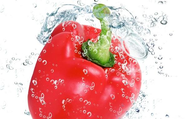 Картинка вода, капли, брызги, свежесть, красный, red, перец, water, drops, овощ, болгарский, паприка, pepper, spray, vegetable, ...