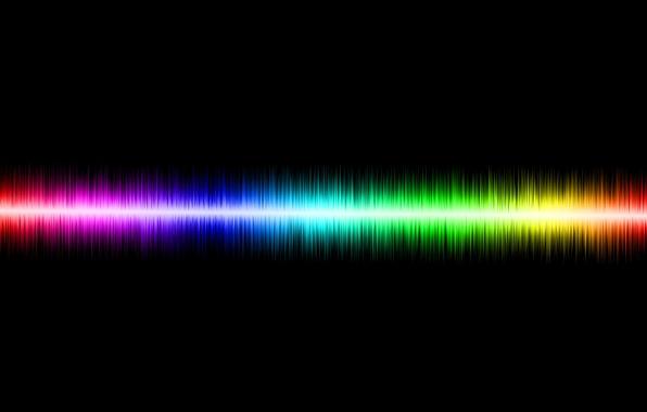 Картинка волна, цветная, чёрный фон, звуковая