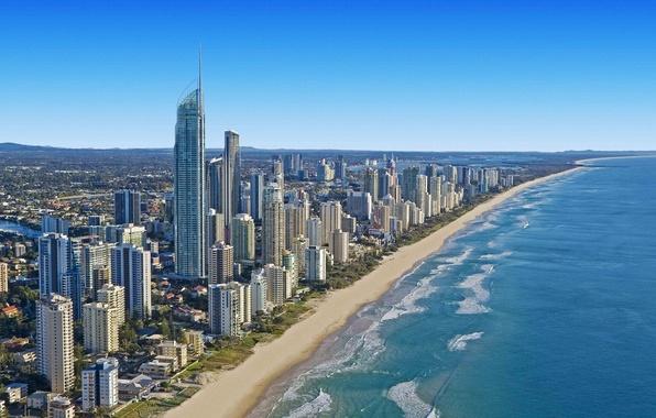 Картинка пляж, город, океан, побережье, небоскребы, Австралия, Брисбен